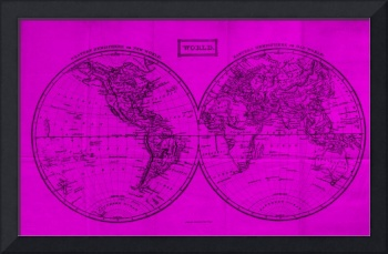 Vintage Map of The World (1857) Pink & Black