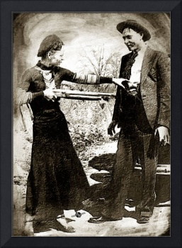 Painting Of Bonnie And Clyde Mock Hold Up Sepia