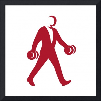 Man in Suit Walking With Dumbbell Silhouette