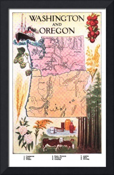 Vintage Map of Washington & Oregon (1921)