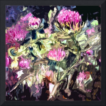 Abstract Thistles Square Modern Floral Art