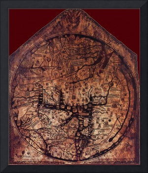 Hereford Mappa Mundi Dark Red Corners Large