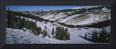 High angle view of a ski resort