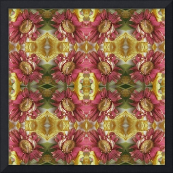 Four Red Flower Squares