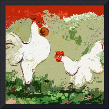 White Rooster and Hen Courtship Origidigi