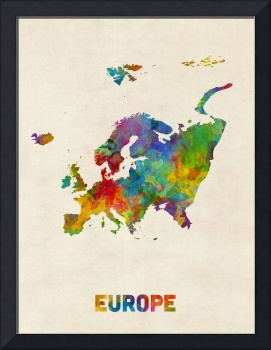 Europe Continent Watercolor Map
