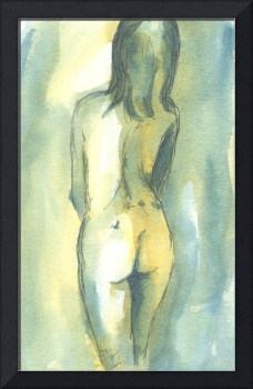 Teal and Yellow Female Nude Study