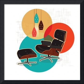 Mid Century Modern Eames Lounge Chair Print