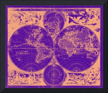 Vintage Map of The World (1685) Tan & Purple