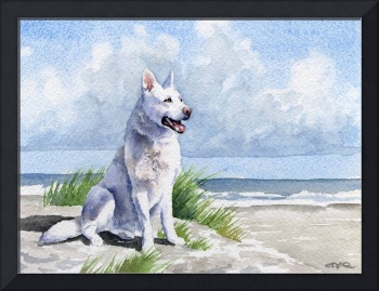 White German Shepherd at Beach