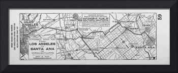 Vintage Los Angeles to Santa Ana Road Map (1921)