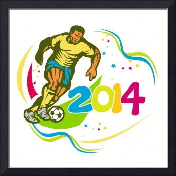 Brazil 2014 Football Player Running Ball Retro