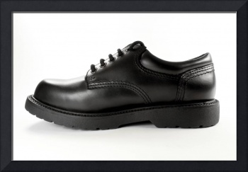 Black leather shoe.