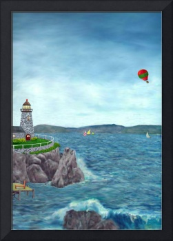 Lighthouse with Hot Air Balloon