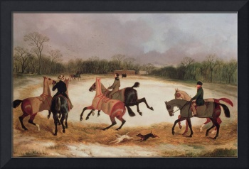 Grooms exercising racehorses