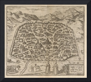 Historical Map of Damascus Syria (1575)