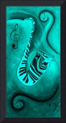 Piano Keys in a Saxophone Teal Music In Motion
