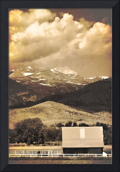 Barn with a Rocky Mountain View Sepia Photo Print