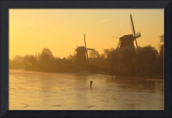 Lonely ice skater at sunrise 2.