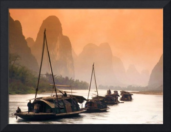 Junks Sailing the Li River
