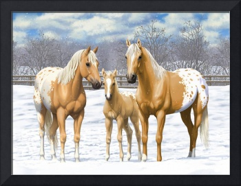 Palomino Appaloosa Horses In Snow