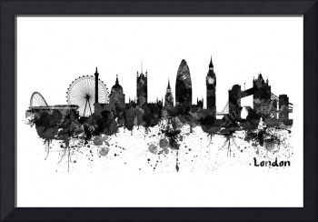 London Black And White Watercolor Skyline Silhouet