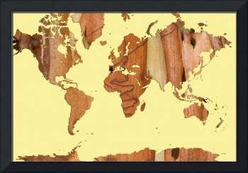 Wood bark worldmap yellow