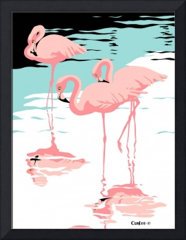 Pink Flamingos tropical abstract pop art Landscape