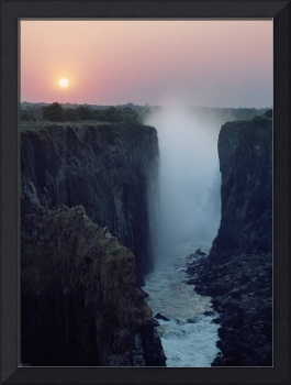 Looking Along Victoria Falls At Dusk From Zambia T