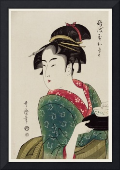 Woman Serving in a Teahouse by Utamaro Kitagawa