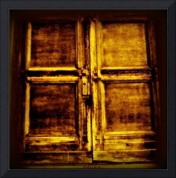 a gold cross door