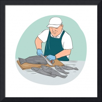 Fishmonger Cutting Fish Cartoon