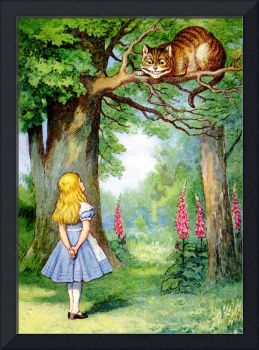 Alice and the Cheshire Cat in Wonderland