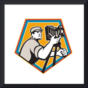 Cameraman Vintage Movie Film Camera Crest Retro