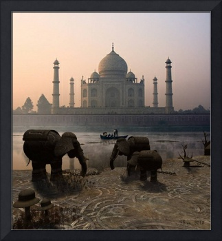 Iron Elephants Overlooking Taj mahal