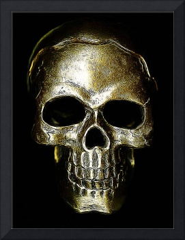 etched gold skull