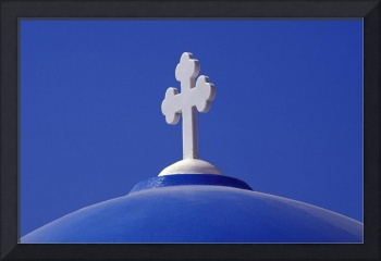 White Cross on Blue Church Dome, Santorini, Greece