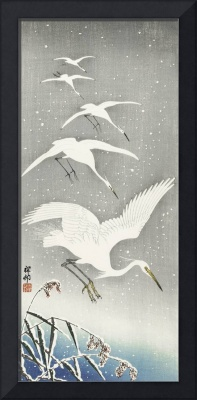 Descending Egrets in Snow by Ohara Koson