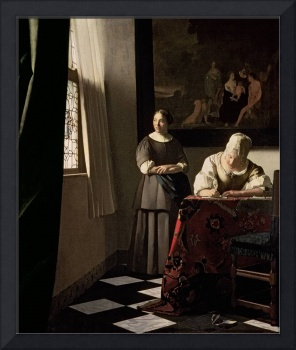 Lady writing a letter with her Maid by Jan Vermeer