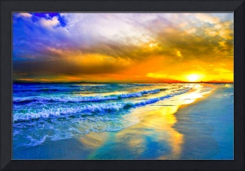 Beautiful Beach Sunset Red Ocean Sunset Prints