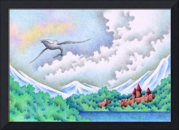 Fantasy Scenery picture - Lake where whale flies