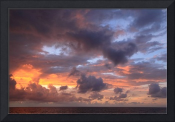 Dawn Clouds and Sky over the Bahamas Sea