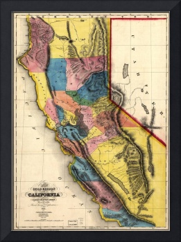 Vintage Map of Gold Regions in California (1851)