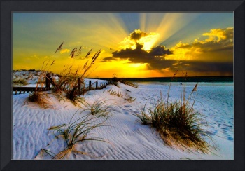 Sunset Golden Sun Rays Print Landscape Fine Art