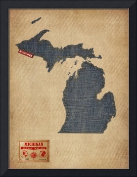 Michigan Map Denim Jeans Style