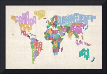 Text Map of the World Map
