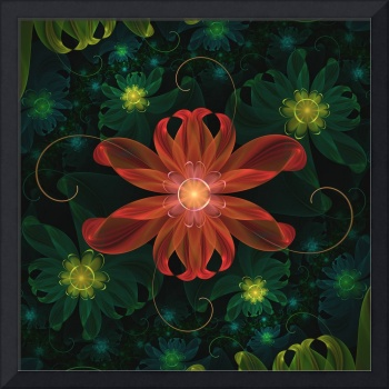 Beautiful Red Passion Flower in a Fractal Jungle