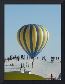 A Hot air ballon at white sands