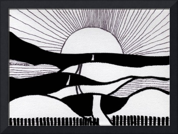 Zen Sumi Journey Black Ink on White Canvas by Rica