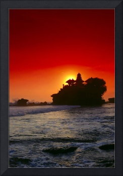 Indonesia, Bali, Tanah Lot Island With Red Sky, Ba